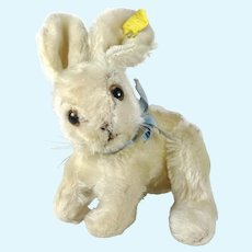"""Steiff Changeable Rabbit with IDs smaller 7"""" vintage made 1957 to 1964"""