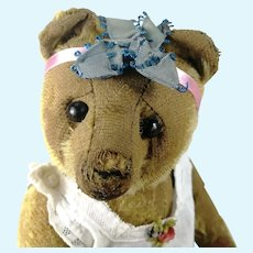 """Antique Teddy Bear well loved 12"""" shoe button eyes 1920s"""