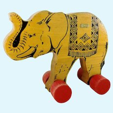 Steiff wooden Elephant on wheels with ID vintage 1969 to 1974 produced pull along toy