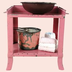 Pink Dollhouse Tin Washstand with basin bucket and towel holders
