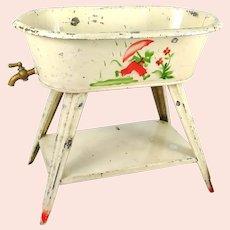 "White Dollhouse Bathtub on legs working faucet 1920s Spritzdecor 9"" long"