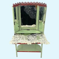 """Dollhouse Vanity Dresser with 3 part mirror made of tin 9"""" tall"""