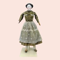 "Kestner & Co China Head Doll 1850s original clothes 20"""