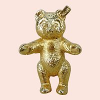 """Steiff Teddy Bear Pin gold plated 1986 to 1988 only 1 1/4"""""""
