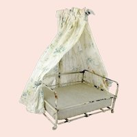 """Antique Canopy Doll Bed crib cot made of metal with mattress 5 by 6"""""""