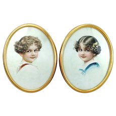 1920s Double Portraits of girl and boy originally framed lithographs