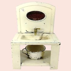 """Art Nouveau Dollhouse Washstand Tin with Mirror 6 by 8"""""""