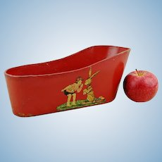 """Antique doll bathtub 10"""" long, 1910s by ANFOE Germany, cardboard, substitute material for tin"""