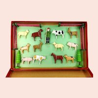 German Erzgebirge wooden miniature farm mint in box vintage 1950s