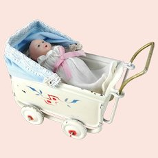 """Antique 1920s tin doll stroller pram with celluloid baby small 3"""" long"""