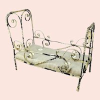 """Antique Doll Bed crib cot made of metal with Mattress 4 by 8"""" collapsible"""
