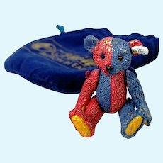 Steiff Club Pewter Miniature Harlequin teddy bear jointed in original sack