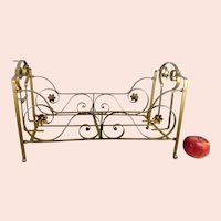 """1910s Metal Doll Bed Cot Crib bronzed with Flower Ornaments 18 by 8"""""""