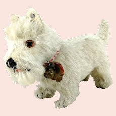 Steiff Sealyham with IDs 1930 to 1943 white 5 and a half inches tall standing mohair dog