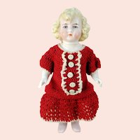 """Hertwig All Bisque Dollhouse Doll 6"""" tall around 1910"""