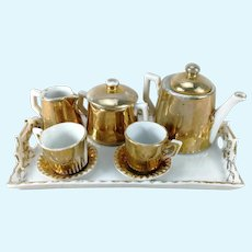 Tea or Coffee Service on Tray 1910s China gold white miniature for dolls or bears