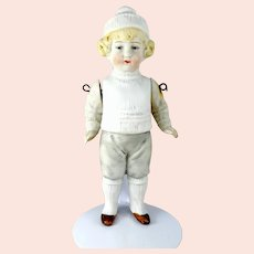 "Hertwig All Bisque Boy Doll 6"" tall around 1910"