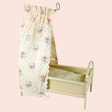 Vintage Canopy Doll Bed crib cot 1950s made of tin with mattress 3 by 6 inches