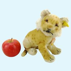 """Steiff young lion all ID's, vintage 1955 – 58 only, large 7"""" sitting"""