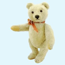 "Steiff original teddy bear, rare white mohair, no IDs,11"", 1950s made"