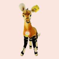 """Steiff Okapi all IDs smallest 6"""" vintage 1959 to 1964 velvet animal"""