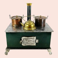 """Small Doll Stove Cooker 7 by 5"""" around 1900 dark green tin with Märklin dishes"""