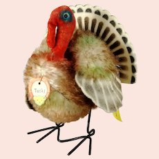 """Steiff Turkey Tucky all IDs mint smallest 4"""" produced 1961 only"""