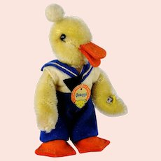 """Steiff Quaggi Duck with IDs produced 1955 to 1959 only 5"""" super condition"""