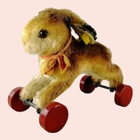 """Steiff Hopping Rabbit on Wheels with IDs 6"""" vintage made 1950 to 1964"""