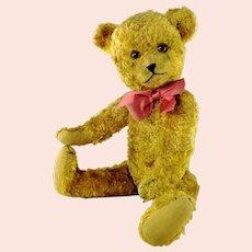 "Vintage Teddy Bear 1940s yellow silk plush 14"" growler unknown maker"