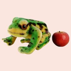 """Steiff Frog Froggy vintage 1960 to 1964 larger than life 8"""" long"""