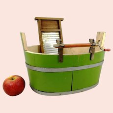 Green Wooden Washtub with Wringer and Washboard for dolls laundry