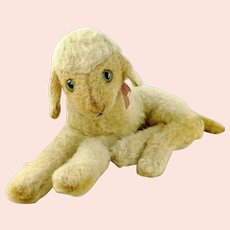 """Steiff lying lamb with button vintage 1966 to 67 only 11"""""""