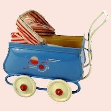 "Art Deco doll stroller pram baby buggy 1920s made of tin 5"" long"