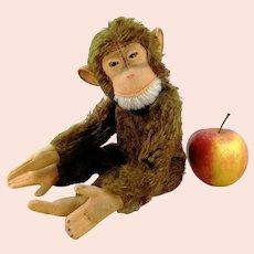 "Steiff Jocko chimp vintage 7"" sitting made 1965 to 1967 brown mohair monkey"