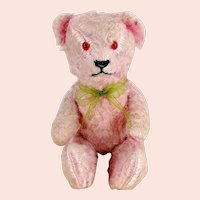 """Pink Stick Jointed Teddy Bear 1940s German made 8"""""""