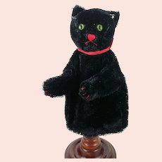 Steiff Black Tom Cat hand puppet with button and bow vintage 1969 to 1978