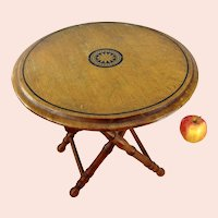 """Antique French Folding Table round bamboo style legs makers mark 12"""" diameter"""
