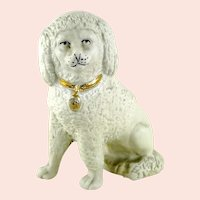 """Parian Bisque Salon Poodle with gold collar for the luxury dollhouse 3"""" tall"""