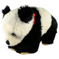 "Hermann Teddy Panda Bear Dralon Plush around 1960 original collar 8"""