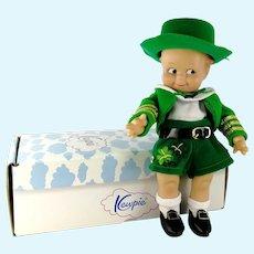 "Jesco Kewpie Doll in Irish Green Leprechaun Costume 8"" mint in box 1985 vintage"