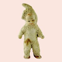 Antique Snowbaby in Bunny Costume 2 and 3 quarter inches tall made around 1900