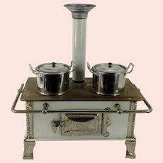 """Bing Cooker Stove around 1900 White enameled 2 holes original dishes 9 by 5"""""""