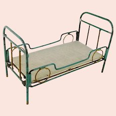 """Art Deco Doll Bed Crib Cot made of metal with mattress 6 by 3"""""""