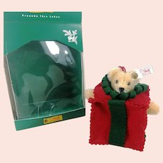 Steiff Christmas Ornament Teddy Bear all wrapped up vintage made 2000 mib