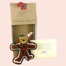 "Steiff Christmas Tree Teddy Bear Gingerbread ornament mint in box 4"" made 2001"
