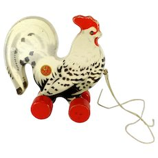 1950s German Vintage White Rooster on wheels made by GECEVO wooden cockerel