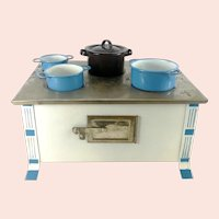 "Vintage doll stove white Spritz Decor and enamel pots 10"" wide"