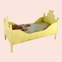 """Antique Doll Bed Crib Cot made of metal with mattress 6 by 3"""""""