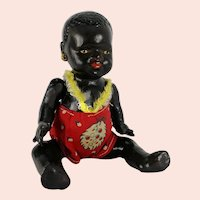 """Small 1930s African doll baby boy 7"""" original romper made of composition"""